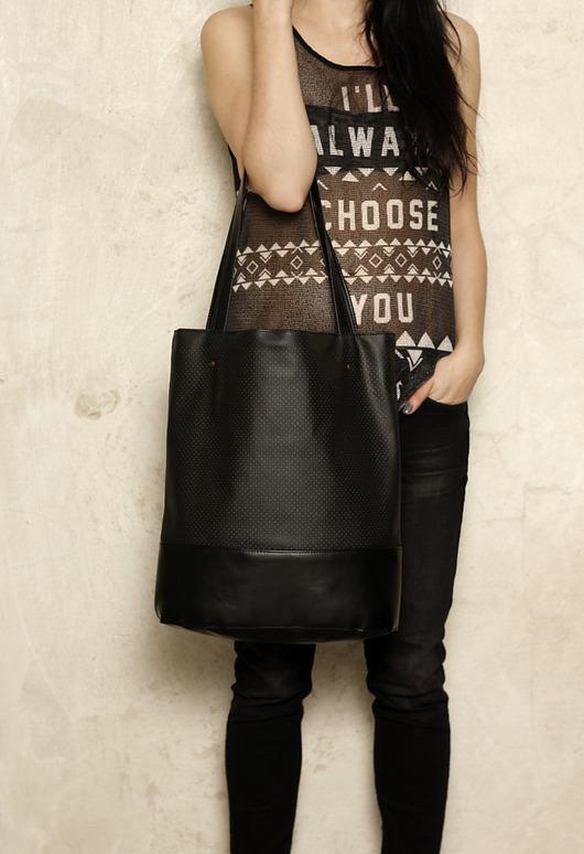 7b7ee1b795dab torby na ramię - damskie-Shopper bag XL czarna / pojemna torba na codzień