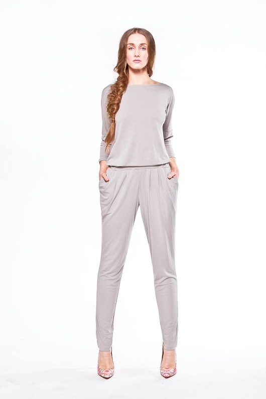 kombinezony-New Grey JUMPSUIT-KOMBINEZON