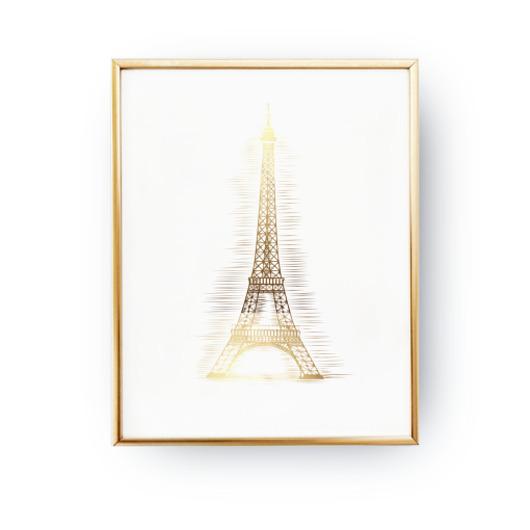 Plakat Wieża Eiffla Paryż Złoty Druk Pakamerapl