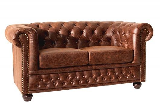 Sofa Chesterfield 2os brąz skóra 150cm - 1884161