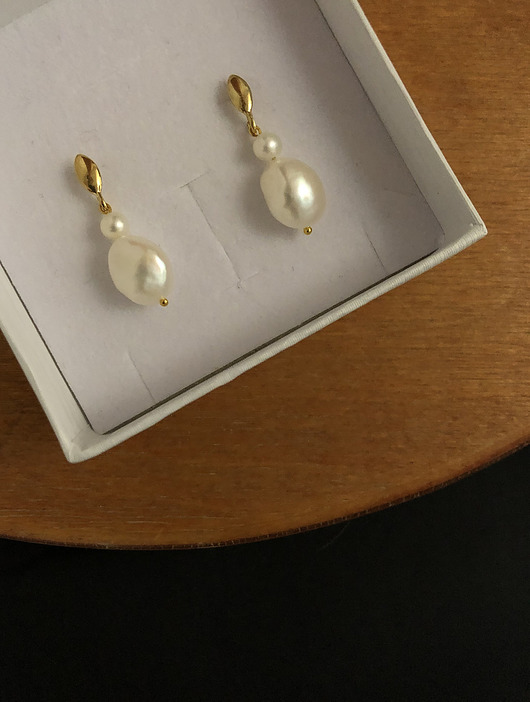kolczyki - srebrne-Irregular Pearl Earrings