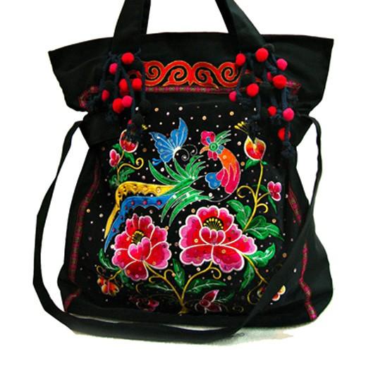 0a1fb3ea10a89 FLOWER AND BIRD haftowana torba etniczna - torby na ramię - damskie ...