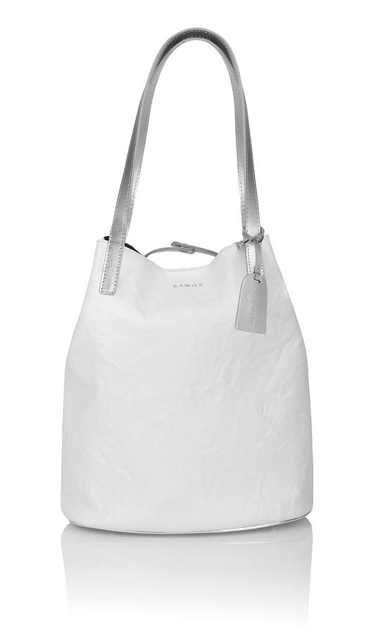 2338c03048241 torby na zakupy - damskie-Skórzany biały worek Sofia srebrne dodatki
