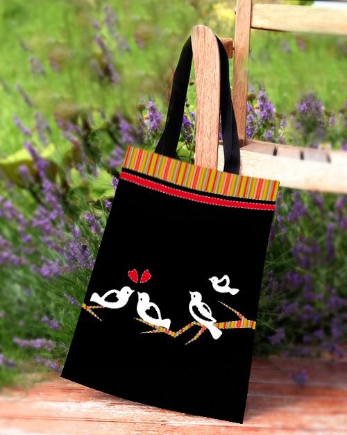 a906cb41d64c8 torby na zakupy - damskie-PTASZKI- oryginalna zakupówka czarna +gratis!