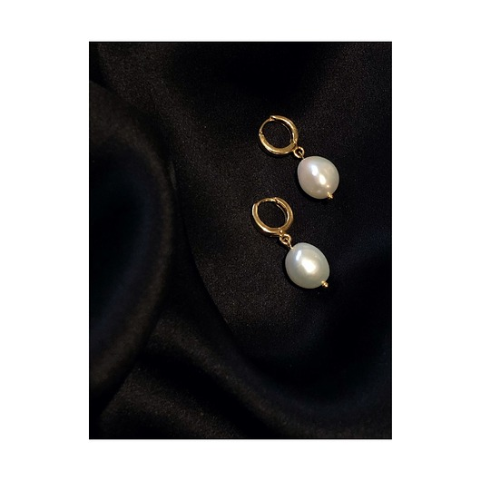 kolczyki - srebrne-Irregular Pearl Earrings / Vintage Circles