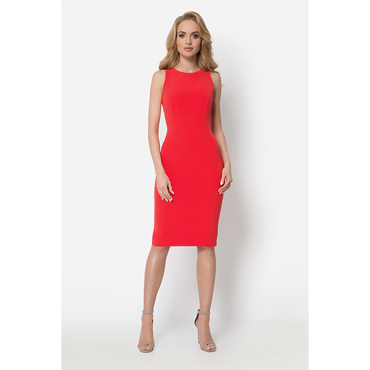 Czerwona sukienka z baskinką