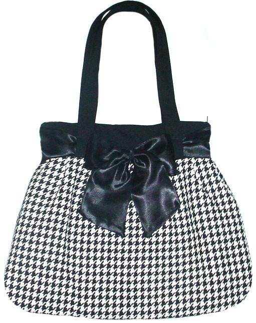 0877618cf50f6 Pepitka czarno biała z czarną kokardą - torebki różne - damskie ...