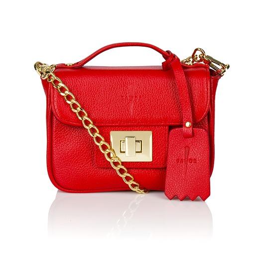 1323b36c4e54a Skórzana torebka kuferek czerwona złote dodatki - torebki mini ...