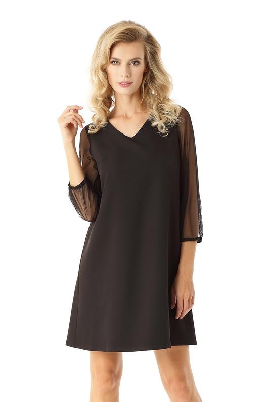 653dfa11c7 Sukienka trapezowa z tiulowymi rękawami czarna - sukienki - mini ...