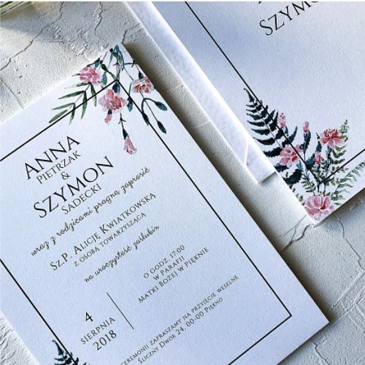 Zaproszenie ślubne Różowe Goździki ślub Zaproszenia Kartki