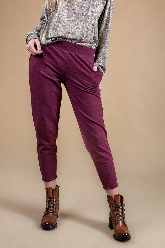 Spodnie dresowe damskie Bordo melanż Array