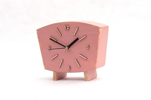 ead29a7428ca9b Pastelowy różowy drewniany zegar - zegary - Pakamera.pl