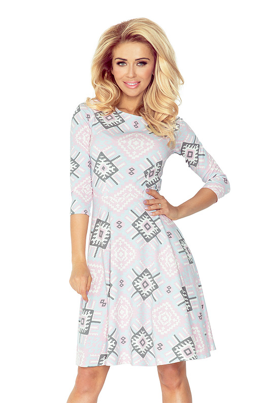 Sukienka rozkloszowana etno szara