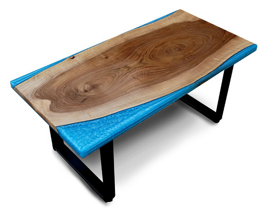 stolik z drewna Orzech Loft Live Edge żywica