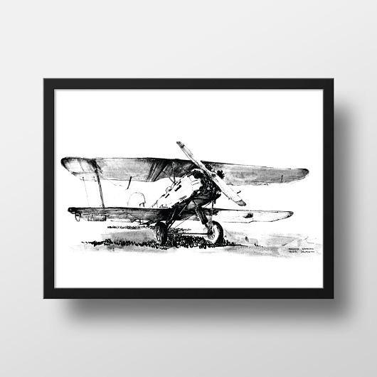 Plakat Samolot Dwupłatowy Czarno Biały Pakamerapl