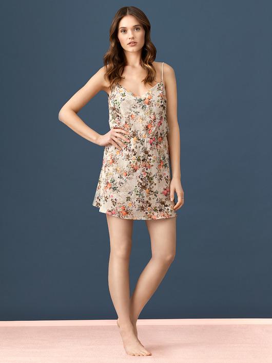 Lekka sukienka w kwiaty LW011 cappuccino