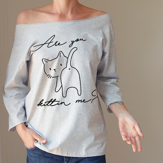 bluzki - t-shirty-Are you kittin me Oversize szary długi