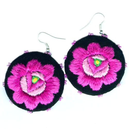 kolczyki - inne-Hand-Embroidered Floral Earrings